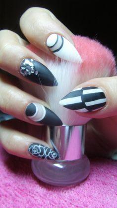 Black and white matte stiletto nails