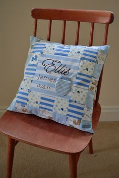 Memory cushion made from baby's old clothes. Made to order + p from ms matched babymemoryquilt Baby Memory Quilt, Memory Pillows, Baby Quilts, Memory Quilts, Used Baby Clothes, Baby Clothes Quilt, Old Clothes, Clothes Crafts, Keepsake Quilting