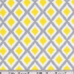 Bright yellow and soft grey anchor the prints in this beautiful collection. A beautiful pattern, reminiscent of ikat wovens, is printed in beautiful white, grey, and yellow. This quilting weight fabric is 100% cotton and is 44/45