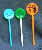 lollipop pens! We all had the ones in the center when I was in 7th grade...we would collect all the different flavors. The teachers hated them!