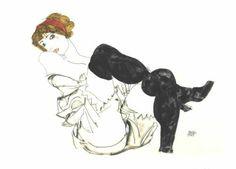 "Egon Schiele: ""Woman with Black Stockings,"" 1913."