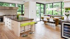 contemporary kitchen design with wooden flooring and breakfast nook 22 Stunning Breakfast Nook Furniture Ideas