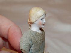 "Antique Bisque German Miniature Lady Dollhouse Doll Needs TLC 3 1/2"""