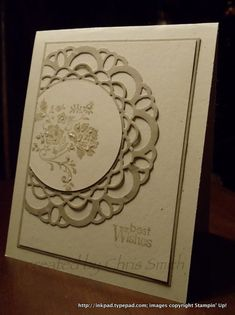 handmade card ... monochromatic kraft tones .... off-the-edge doily ... Stampin' Up!