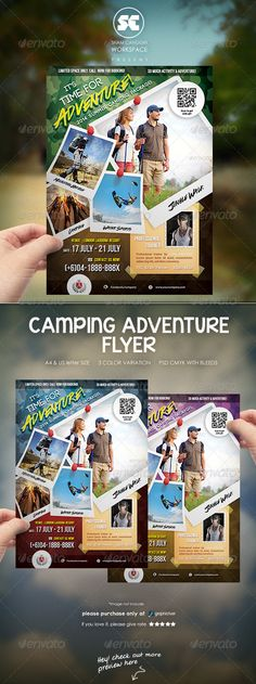Buy Camping Adventure Flyer by shamcanggih on GraphicRiver. ITEM DESCRIPTIONS Flyer templates designed exclusively for summer camp, school camping, hiking, sports, adventure or . Camping Style, Camping Theme, Beach Camping, Camping With Kids, Tent Camping, Camping Ideas, Camping Heater, Camping Hacks, Camping Activities
