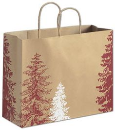 A Pine Day Shoppers 16 x 6 x 12 1/2.   ◾100 bags per case. ◾Made of 86# recycled natural kraft paper with a varnish finish. ◾80% post-consumer waste. ◾Recyclable. ◾Kraft twisted-paper handles. ◾Serrated-edge top. ◾This product can be personalized with your business information or logo. Use our customization wizard or call 888.881.7225 for assistance. ◾Coordinate with other items in the A Pine Day Collection. ◾Eco-Friendly.