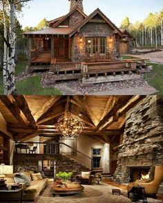 145 Small Log Cabin Homes Ideas – – - Traumhaus Small Log Cabin, Log Cabin Homes, Small Rustic House, Diy Log Cabin, Log Cabin Plans, Small Cabins, Cabin Floor Plans, Cottage Homes, Dream Home Design
