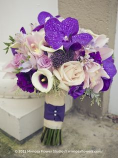 purple white wedding flowers bouquet