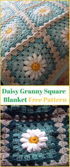 Crochet Daisy Granny Square Blanket Free Pattern Video - Crochet Daisy Flower Blanket Free Patterns