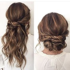 Half up half down wedding hairstyles,partial updo bridal hairstyles - a great options for the modern bride from flowy bohemian to clean contemporary #GreatHairstyles