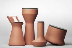 Benjamin Hubert has designed a series of terracotta pots that are glazed on the inside and have lids made of soft silicone