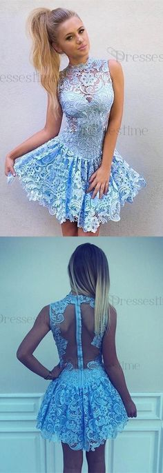 party dresses, baby blue lace homecoming gowns, cheap a-line fashion dresses.