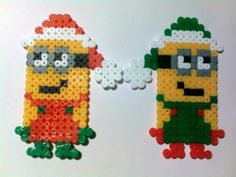 2 Christmas Tree ornaments Santa Despicable me Minion creatures hama perler beads by akashalondon
