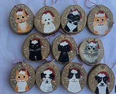 100 Most Unique Holiday Gifts 2019 Hand Painted Ornaments, Dog Ornaments, Wooden Ornaments, Personalized Christmas Ornaments, Christmas Wood, Christmas Cats, Holiday Gifts, Bazaars, Wood Circles