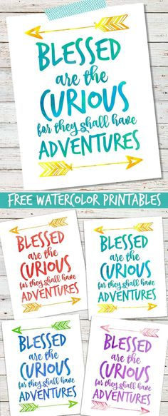 """""""Blessed are the Curious"""" Free Watercolor Print"""