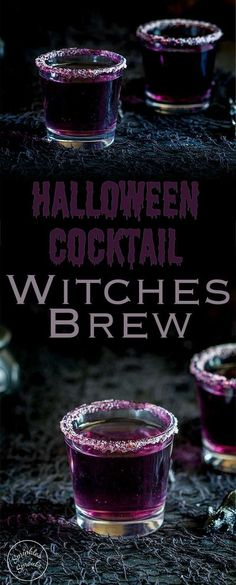 This 'Witches Brew'- halloween cocktail is so stunning. Based on a Purple Hooter, the vivid colour is dramatically beautiful, but with a dark eerie feel perfect for a halloween party. Recipe from Sprinkles and Sprouts Delicious food and drink for easy e Soirée Halloween, Halloween Food For Party, Halloween Cupcakes, Halloween Shots, Halloween Food For Adults, Halloween Decorations, Purple Halloween, Easy Halloween Treats, Witch Party