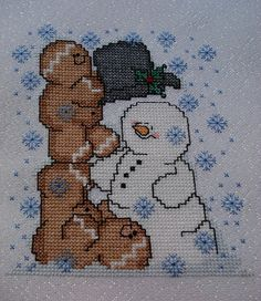 Gingerbread man snowman Frosty Christmas cross stitch