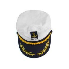 Moda Blanco Sombrero de Marinero Capitán Gorra de Algodón para Hombre  Sombreros Marineros 385ca827779