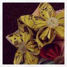 Kusudama flower. Made from Moomin comic strip