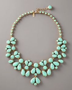 Bonnie look---- Turquoise Bib Necklace by kate spade at Neiman Marcus. Jewelry Box, Jewelry Accessories, Fashion Accessories, Fashion Jewelry, Gold Jewelry, Jewelry Rings, Jewlery, Pandora Jewelry, Fashion Necklace