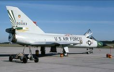 A USAF Convair F-106 Delta Dart from the 49th FIS sits on the ramp.