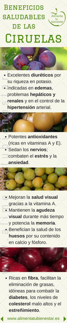 #Infografia Beneficios para la salud de las ciruelas #alimentatubienestar