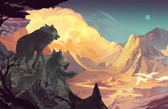 Interview With An Artist Alex Dos Diaz - Smells Like Home. Beautiful environment landscape digital art of mountains and wolfs Landscape Drawings, Landscape Illustration, Landscape Art, Anime Wolf, Fantasy Wolf, Wolf Pictures, Art Story, Art World, Animal Drawings