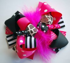 boutique FUNKY fun shocking PINK and black and GIRAFFE hair bow clip