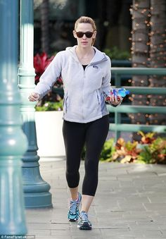 Workout gear: Actress Jennifer Garner wore a fuzzy grey hoodie and black leggings as she headed to the gym in Brentwood, Los Angeles on Wednesday