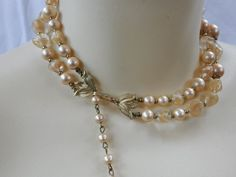 Vintage 1950s White Pearl Double Strand Beaded Necklace Gold Tone Choker Collar in Jewelry & Watches, Vintage & Antique Jewelry, Costume | eBay