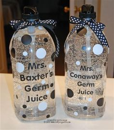 Teacher Gifts - Germ Juice , How cute it this? I want to do this with my sanitizer this year. Germ Juice is easier to say as well! Homemade Gifts, Diy Gifts, Great Gifts, 1st Day Of School, School Teacher, School Nursing, School Days, Sunday School, Nurse Office