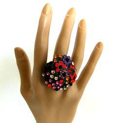 Large Multi Color Crystal Cocktail Ring by ediesbest on Etsy, $9.95