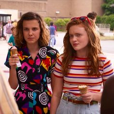 """""""Stranger Things gives Eleven, played by Millie Bobby Brown, a makeover with more feminine clothes. Bobby Brown Stranger Things, Stranger Things Season 3, Eleven Stranger Things, Max Costume, Costumes, Duffer Brothers, Browns Fans, Child Actors, Millie Bobby Brown"""
