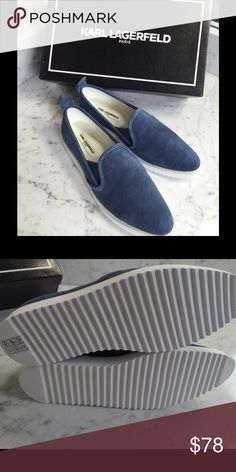 51953caa2f3 Suede Slipon Fashion Sneakers New almond toe blue suede with white soles  look fresh for Summer