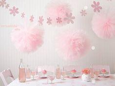 Birthday Table Decorations Pink Pom Poms 41 Ideas For 2019 Tulle Poms, Pom Poms, Pink Tulle, Tulle Balls, Tulle Tutu, Décoration Candy Bar, Girl Birthday, Birthday Parties, 30th Birthday