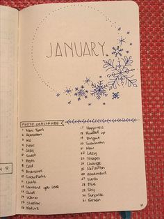 January new month spread bullet journal