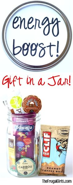 Energy Boost Gift in a Jar! ~ from TheFrugalGirls.com - such a fun mason jar gifts for friends and family members that could use a little boost of energy! #giftsinajar #masonjars #thefrugalgirls