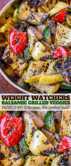 Balsamic Grilled Vegetables with just a hint of sweetness, grilled in a grill pan with deliciously charred spots. The perfect, easy side dish to your favorite grilled dinners.