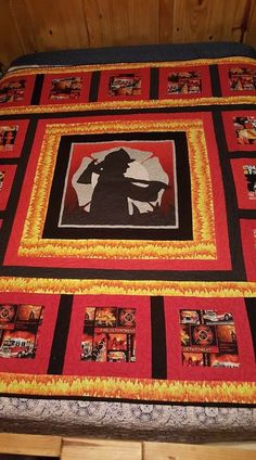 Quilting Projects, Quilting Designs, Sewing Projects, Quilting Ideas, Sewing Hacks, Firefighter Paramedic, Firefighter Decor, Panel Quilts, Quilt Blocks