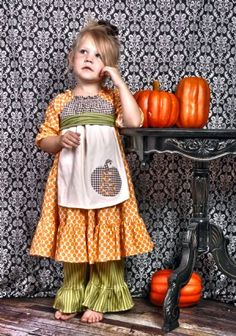 Pumpkin Peasant Twirl Dress Like this w/out the apron Girls Fall Dresses, Girls Fall Outfits, Little Girl Outfits, Cute Fall Outfits, Little Girl Dresses, Holiday Outfits, Fall Baby Clothes, Girlie Clothes, Thanksgiving Outfit