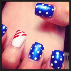 Fourth of July. Acrylic nails. Red white blue. Dots. Striped. Flag. Fireworks. Family. Friends. Celebrate. Outdoors. Nighttime. Nail design. Freehand