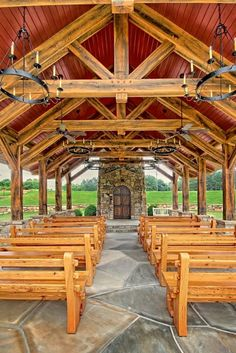 Timber frame trusses in chapel  Founders Chapel Open Air Chapel in Johns Creek, GA