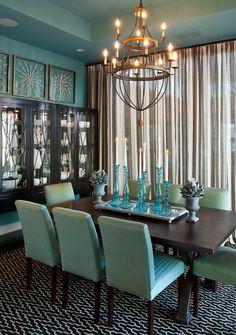 Marvelous Beach Blue Walls, Sea Glass Inspired Accessories And Aqua Upholstered Dining  Chairs Give This Dining Room From HGTV Smart Home 2013 A Casual Elegance.