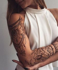 88 Alluring Sexy Tattoo Designs & Tattoo Placement Ideas For Woman - Page 80 of 88 - The Secret of Modern Beauty Aztec Tribal Tattoos, Tribal Shoulder Tattoos, Arm Sleeve Tattoos, Tattoo Sleeve Designs, Tribal Arm, Geometric Tattoos, Feminine Tattoos, Sexy Tattoos, Unique Tattoos