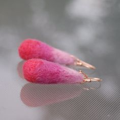 Pink Drops (Felt Beads and Rose Gold Earrings)