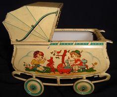 vintage tin pram, so sweet Pram Toys, Dolls Prams, Doll Toys, Baby Dolls, Children's Toys, Vintage Pram, Vintage Tins, Vintage Dolls, Metal Toys