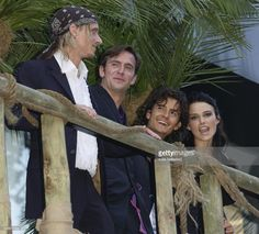 Mackenzie Crook, Jack Davenport, Keira Knightley and Orlando Bloom at the premiere of 'Pirates of the Caribbean' at the Odeon in Leicester Square.