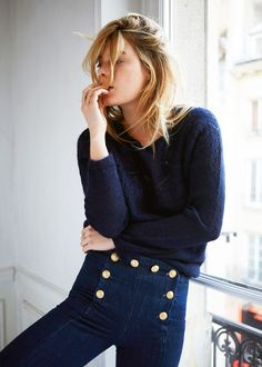 Sezane 1977 - The New Parisien Denim Jeans size 38 Rachel Zoe, Style Casual, My Style, Hair Style, Casual Outfits, Style Marin, Girl Fashion, Fashion Dresses, Classy Fashion