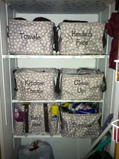 Closet organization using Square Utility Totes and an Organizing Utility Tote for cleaning supplies from Thirty-One gifts. This is what I want to do to my closet!!