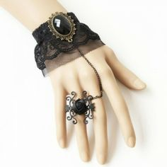 Gothic Style Brace Lace Witch Bracelet with Ring for Gift